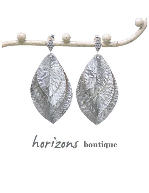 Earrings 4 Leaves Silver - Plumetti