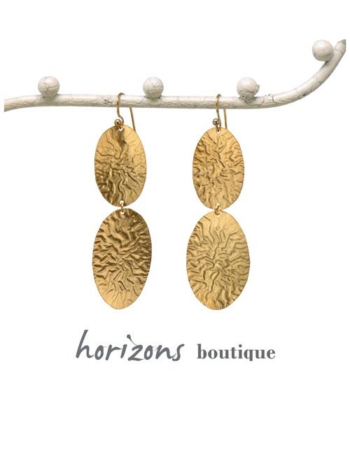 Earrings 2 Ovals Gold - Plumetti