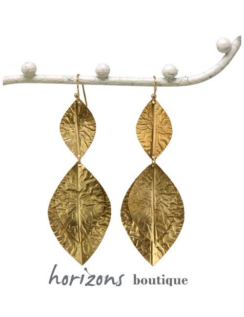 Earrings 3 Leaves Gold - Plumetti