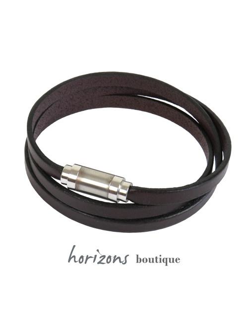 Bracelet MAGNETIC 3 Wraps Choco - Magnum Cuir