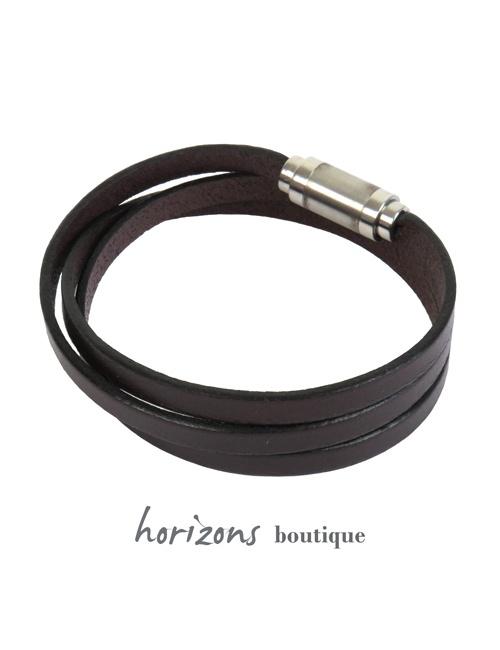 Bracelet MAGNETIC 3 Wraps Choco back - Magnum Cuir