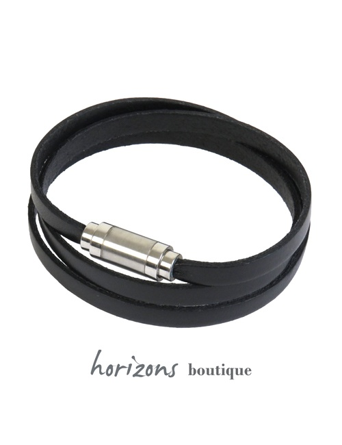 Bracelet MAGNETIC 3 Wraps Black - Magnum Cuir