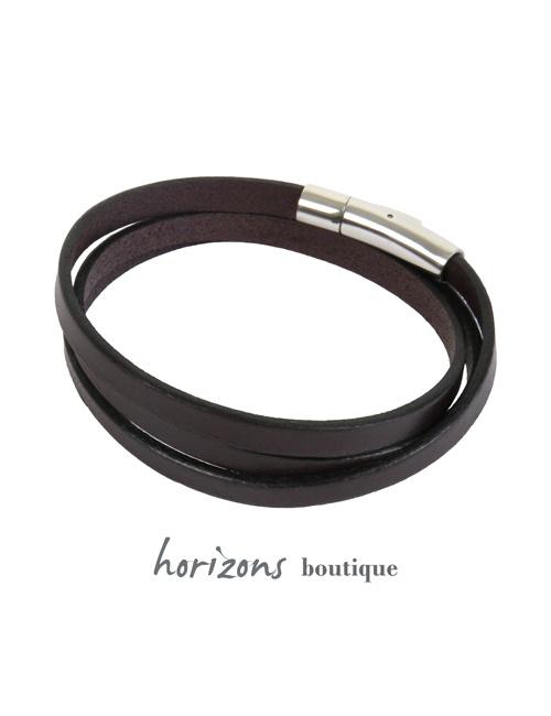 Bracelet DECLIC 3 Wraps Choco back - Magnum Cuir