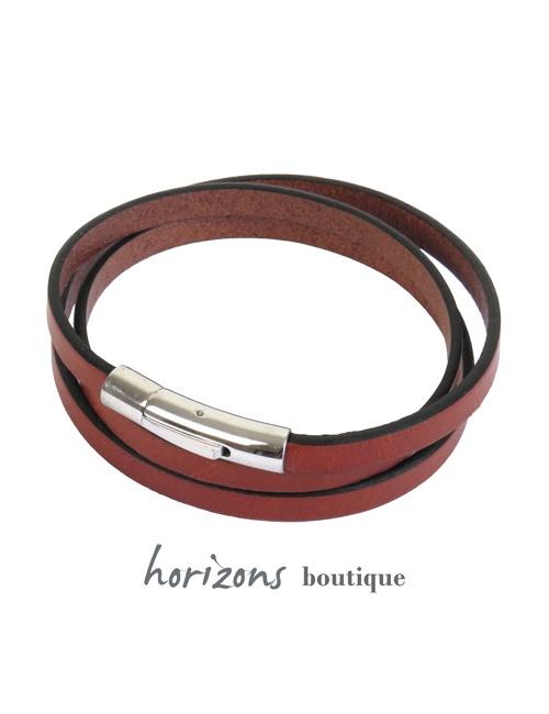 Bracelet DECLIC 3 Wraps Cognac - Magnum Cuir
