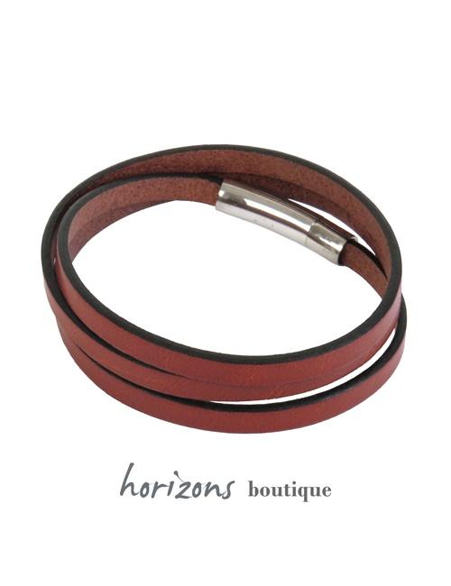 Bracelet DECLIC 3 Wraps Cognac back - Magnum Cuir