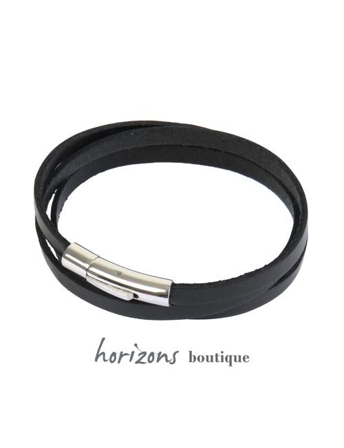 Bracelet DECLIC 3 Wraps Black - Magnum Cuir
