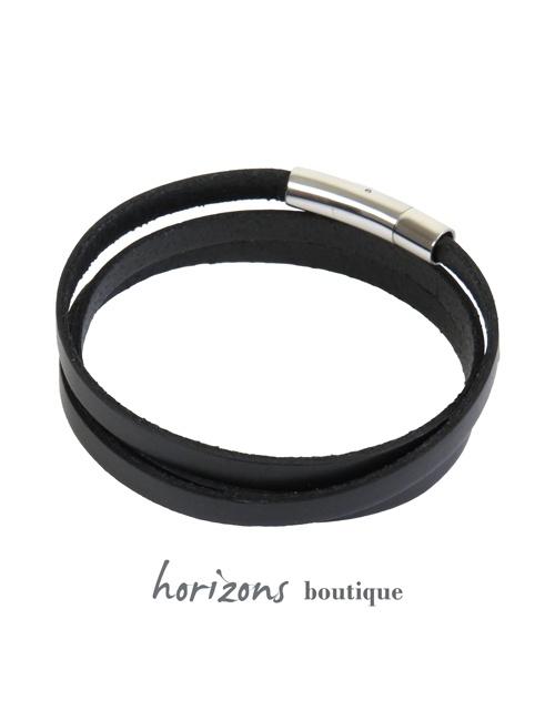 Bracelet DECLIC 3 Wraps Black back - Magnum Cuir