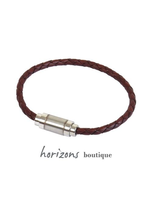 Bracelet MAGNETIC Braided Cognac - Magnum Cuir