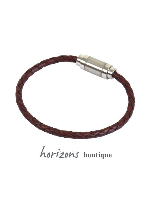 Bracelet MAGNETIC Braided Cognac back - Magnum Cuir