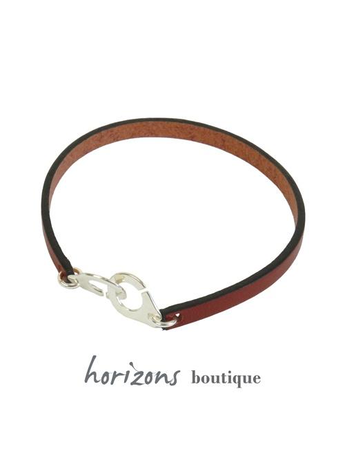 Bracelet MENOT'CHIC Single Cognac front - Magnum Cuir
