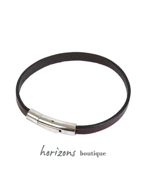 Bracelet DECLIC Single Choco front - Magnum Cuir
