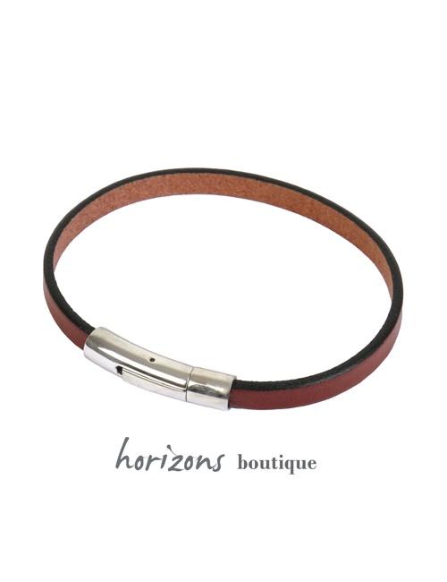 Bracelet DECLIC Single Cognac front - Magnum Cuir