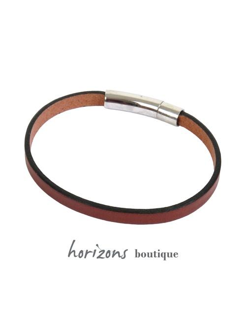 Bracelet DECLIC Single Cognac back - Magnum Cuir