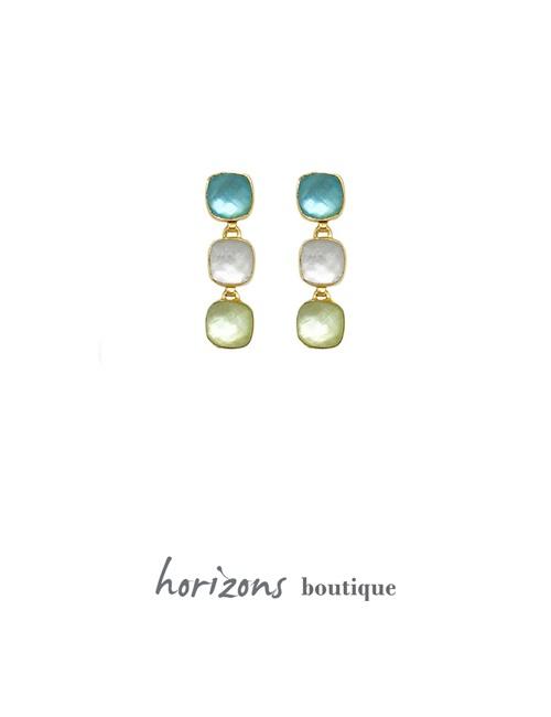 Earrings Carré 3 Blue - Cahana