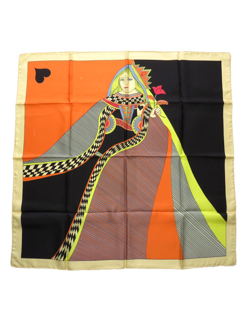 Silk Scarf Queen of Hearts Orange - AN-NEE